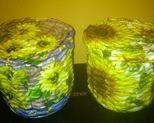 Koszyczki słoneczmiki wys 14 cm, obwód 52 cm. Cena za szt 20 zł
