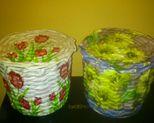Koszyczki tulipany i słoneczniki wys 14 cm, obwód 52 cm. Cena za szt 20 zł