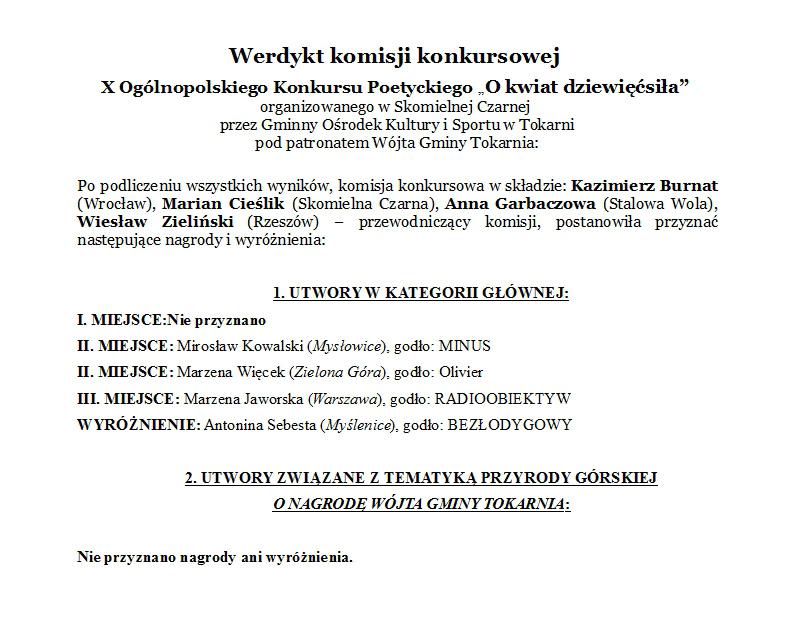 Ogólnopolski Konkurs Poetycki O Kwiat Dziewięćsiła Gokis